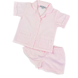 Pink Seersukcer Stripe Short PJ Set for Girls