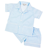 Blue Seersukcer Stripe Short PJ Set for Boys