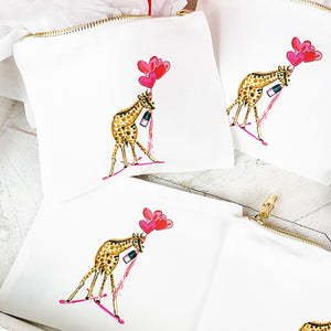 Skiing Giraffe Small Cosmetic Bag by Toss Designs