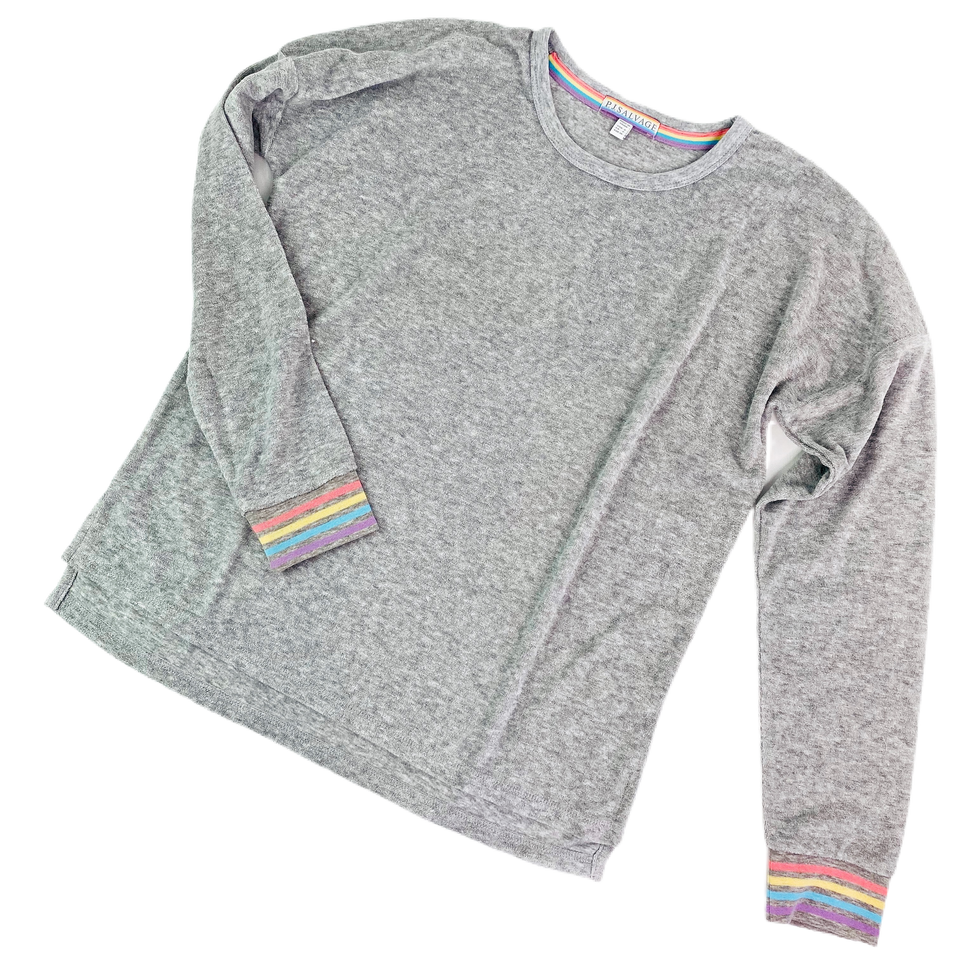 Heather Grey Long Sleeve Top w/Rainbow Sleeves