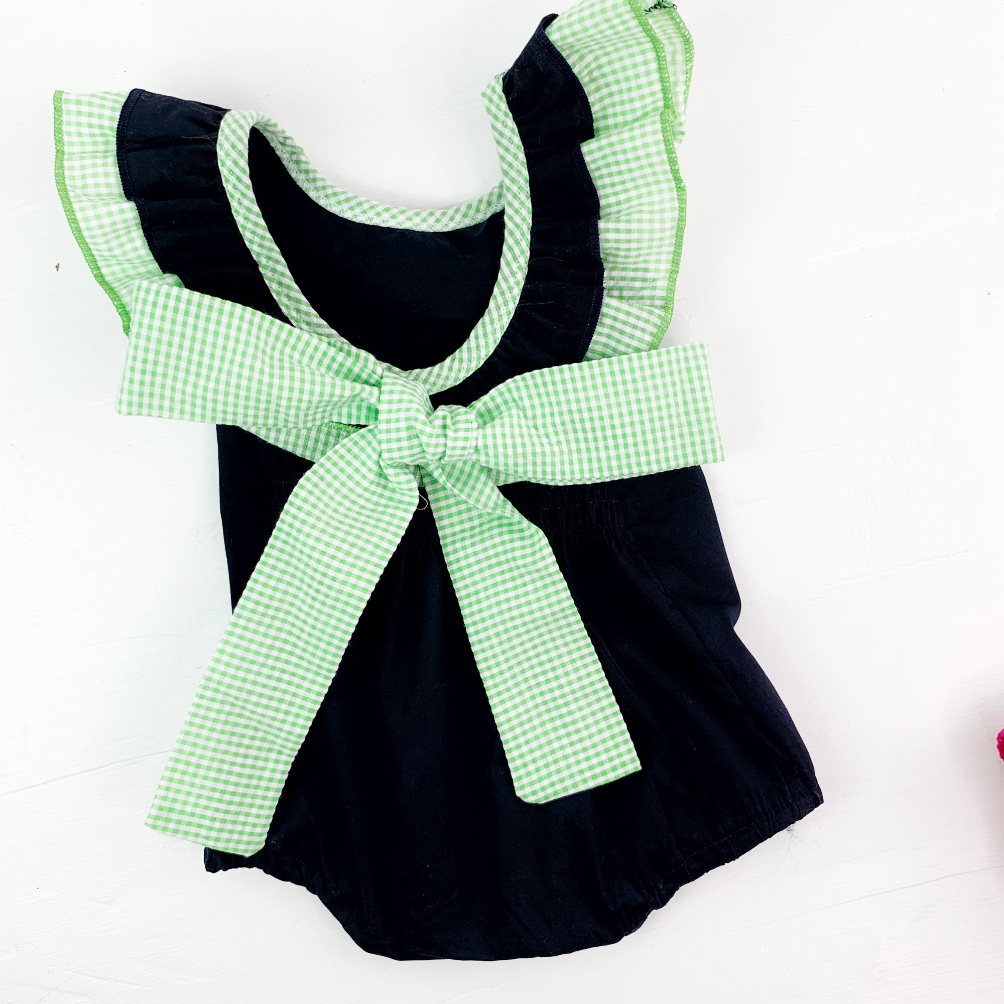 Gingham Trim Bubble Romp