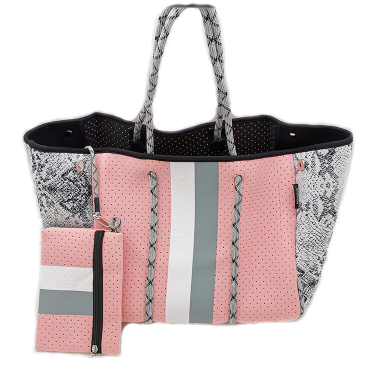 Pink and Grey Stripe Tote