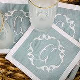 Cocktail Napkins with border, linen blend Set/4