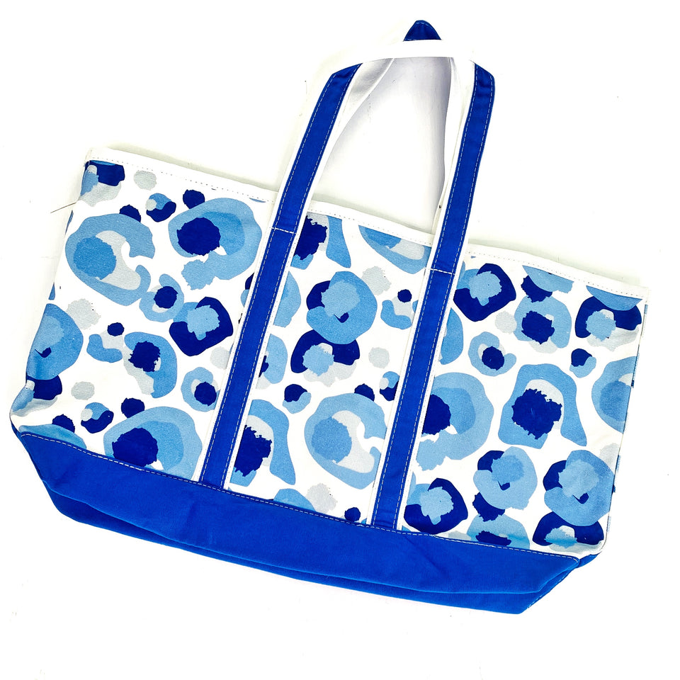 Spot Cheetah Blue Canvas Tote Bag By Emily McCarthy