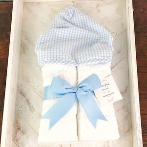 Blue Gingham Hooded Towel