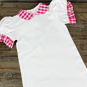 Pique Cotton Pink Gingham Infant Gown