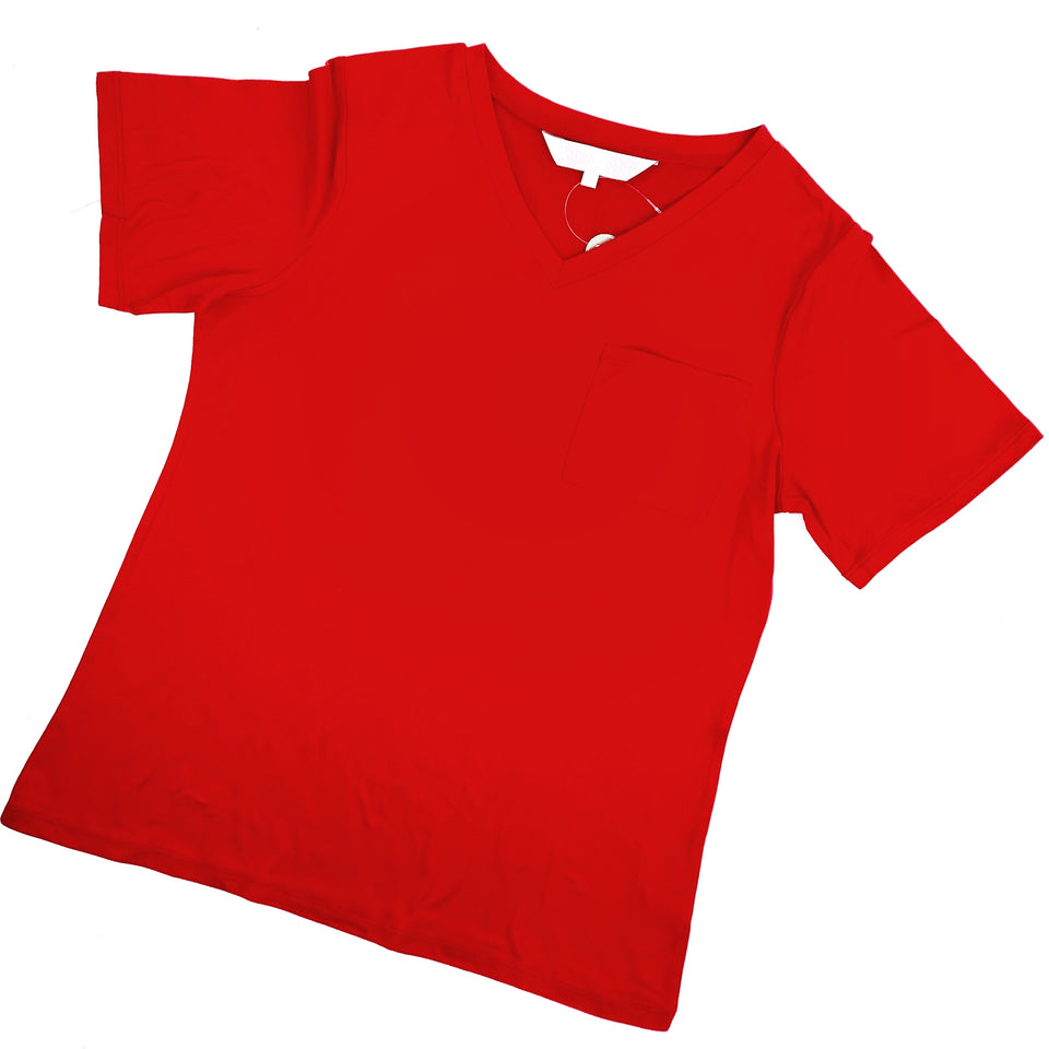Red V-Neck Pocket Sleep Tee