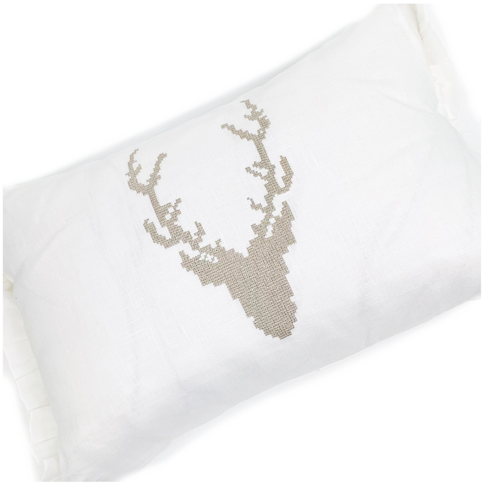 Decor Pillow w/ Ruffle- Stag