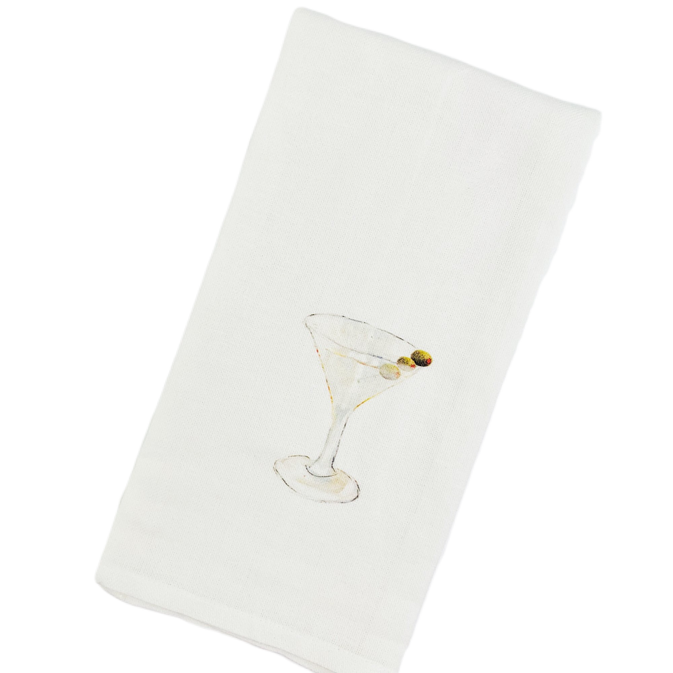 Cotton Olive a Martini Guest Towel