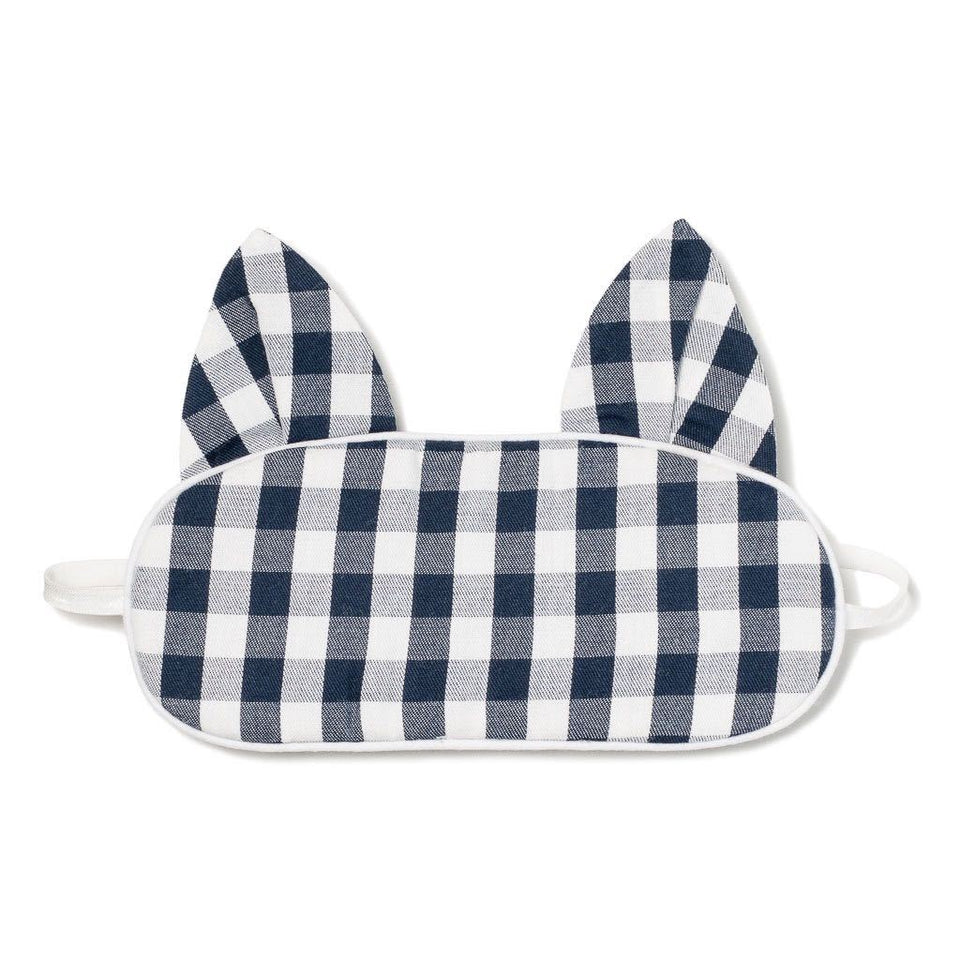 Children's Navy Gingham Kitty Eye Mask
