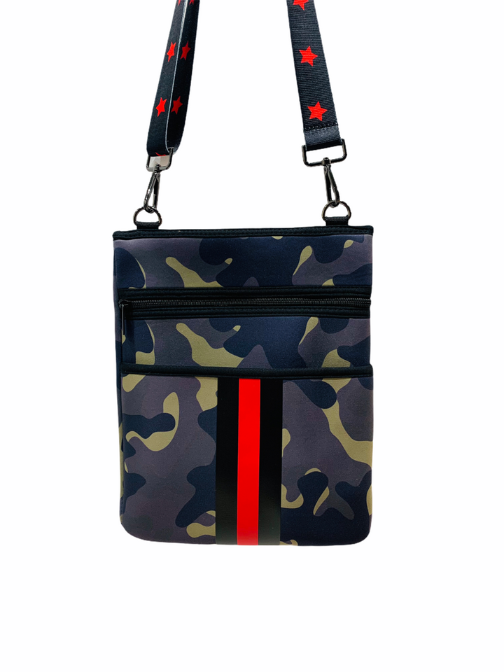 Camo w/ Red Stripe Crossbody Tote