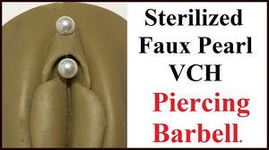 Sterilized Faux Pearl Balls Stainless Steel Barbell for Vertical Hood Piercing.