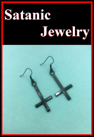 "1-1/4"" BLACK UPSIDE down CROSS Anodized Steel Earrings."