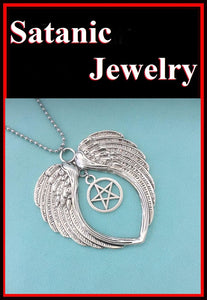 "Large Angel's Wings with 3/4"" Pentagram 18"" Bead Chain"