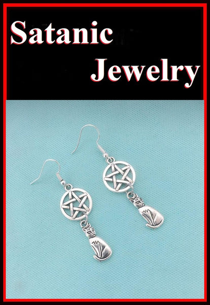 LUCIFER; Pentagram and Cat Silver Charms Earrings.