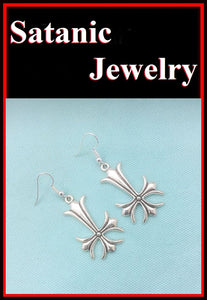 "1-1/2"" Length Fancy SILVER UPSIDE down CROSS Metal Earrings."