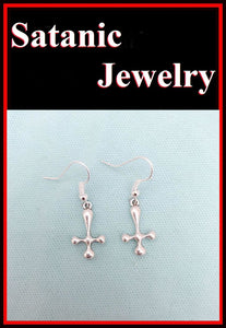 SATANIC DEVIL INVERTED CROSS UPSIDE DOWN CROSS OCCULT RITUAL Earrings.