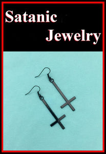 "1-1/2"" BLACK UPSIDE down CROSS Anodized Steel Earrings."
