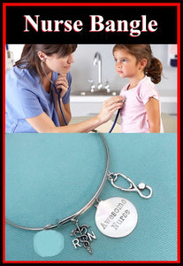 Medical Bracelet : Awesome Nurse related Charms Expendable Bangle.