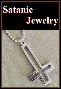 "2"" Large Hallow Silver DEVIL CROSS Satanic Necklace."