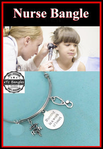 Medical Bracelet : Nursing related Charms Expendable Bangle.
