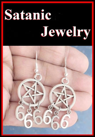 PENTAGRAM with 666 Satanic Gothic Pagan Earrings.