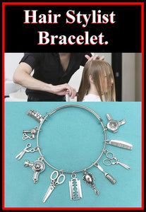 Hair Stylist related Charms Beautiful Bangle Bracelet.