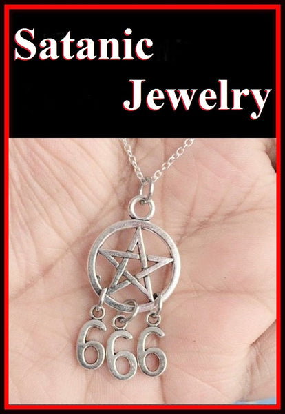 PENTAGRAM with 666 Satanic Gothic Pagan Necklace.