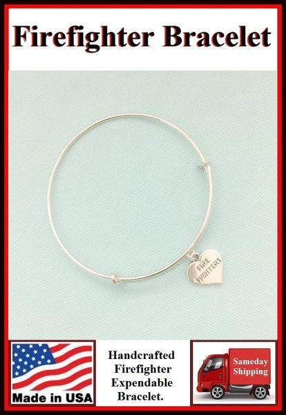 Firefighter Heart Charm Expendable Bangle.