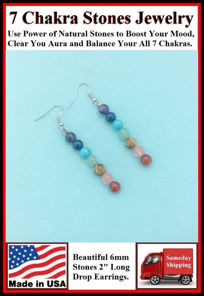 "7 Chakra 6mm Stones 2"" Drop Earrings to Boost Mood"
