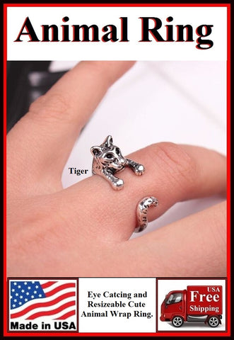 Beautiful Tiger Resizable Finger Ring.