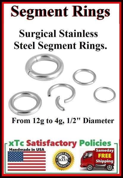 "Sterilized Surgical Stainless Steel 1/2"" Diameter SEGMENT Rings."