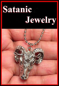 Satanic Large GOAT HEAD with Bead Chain Necklace.