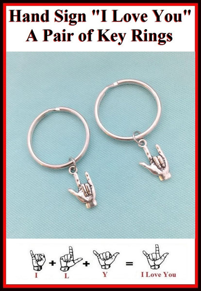 2 Best Friends, I Love You Sign language Key Chains.