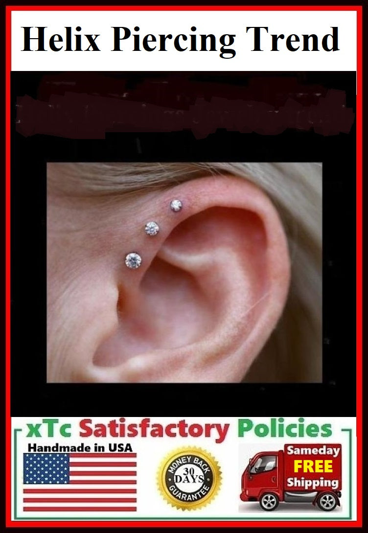 Helix Piercing Jewelry Trend for 2018 and 2019.