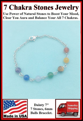 7 Chakra 6mm Stones Bracelet to Boost Mood.