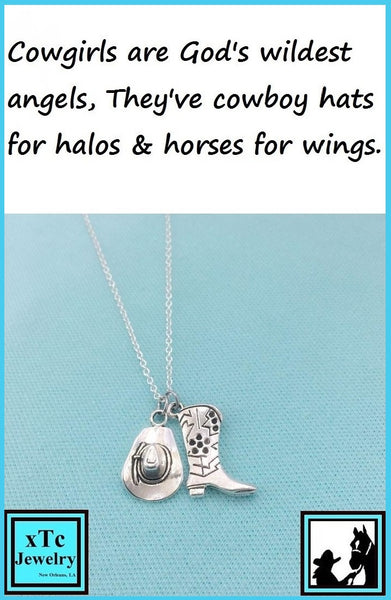 Cowgirl Gift; Handcrafted Boot and Hat Silver Charms Necklace.