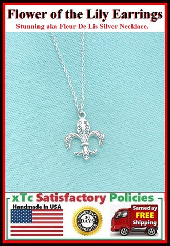 "Beautiful Flower of the Lily Silver Charm 18"" Necklace."
