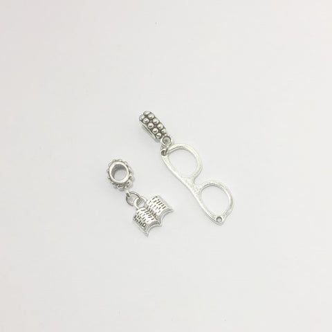 Bracelet Charms : Eyeglasses and Open Book Charms.
