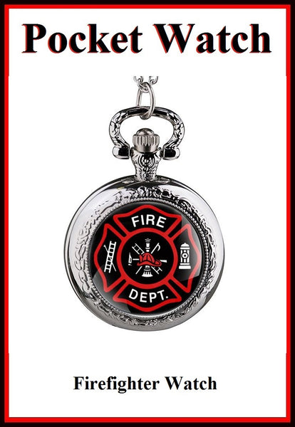 "Firefighters Retro Bronze Locket Quartz Watch 30"" Necklace."