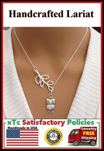 Beautiful Handcrafted Owl Charm Necklace Lariat Style.