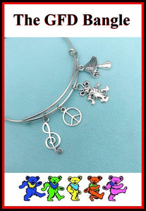 Grateful Dead Bear and Charms Bangle Bracelet.