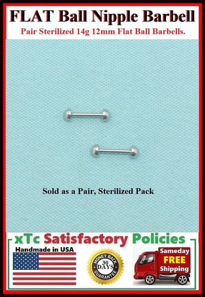 "PAIR Sterilized Surgical Steel 1/2"" FLAT BALL Nipple Bars."