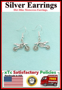 Motocross Dirtbike Silver Dangle Drop Earrings.