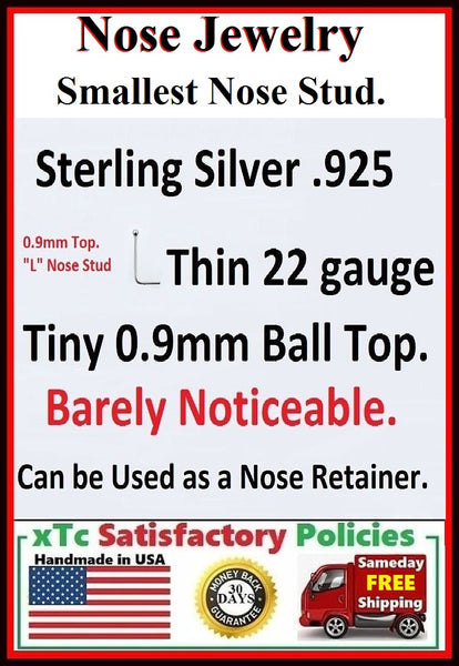 "Sterilized Smallest Ball (0.9mm) Sterling Silver ""L"" Nose Stud."
