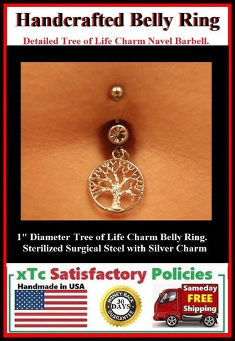 "1"" Tree of Life Silver Charm Surgical Steel Belly Ring."