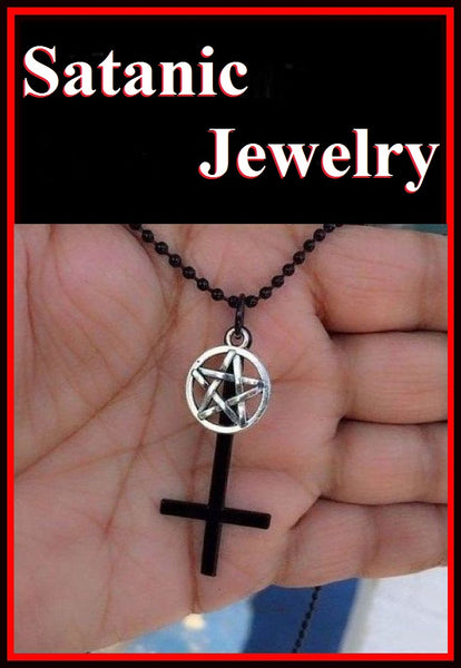 "2"" Black UPSIDE down Cross with Silver Pentagram and Black Steel Bead Chain,"