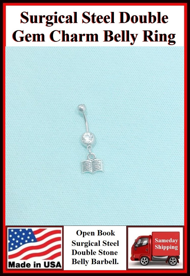 Open Book Silver Charm Surgical Steel Belly Ring.