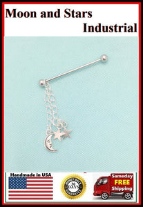 Beautiful Moon and Stars Charms Surgical Steel Industrial.