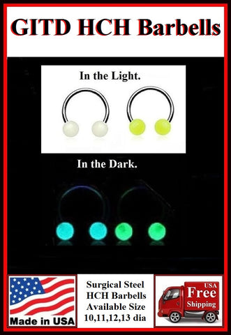 Glow in The Dark Horseshoes for Horizontal Hood Piercing.